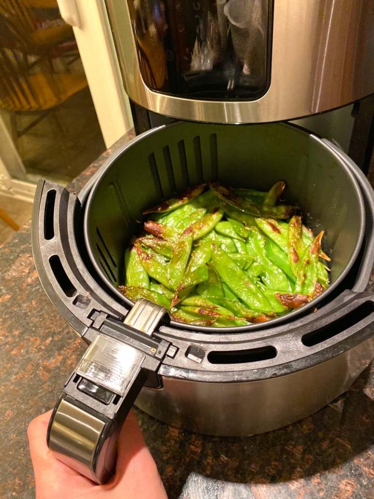 roasting snow peas in an air fryer