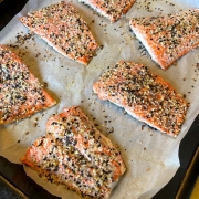 salmon with everything bagel seasoning