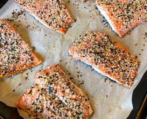 salmon with everything bagel seasoning