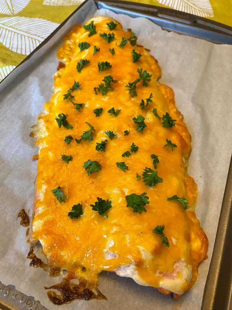 baked salmon with cheese and mayo