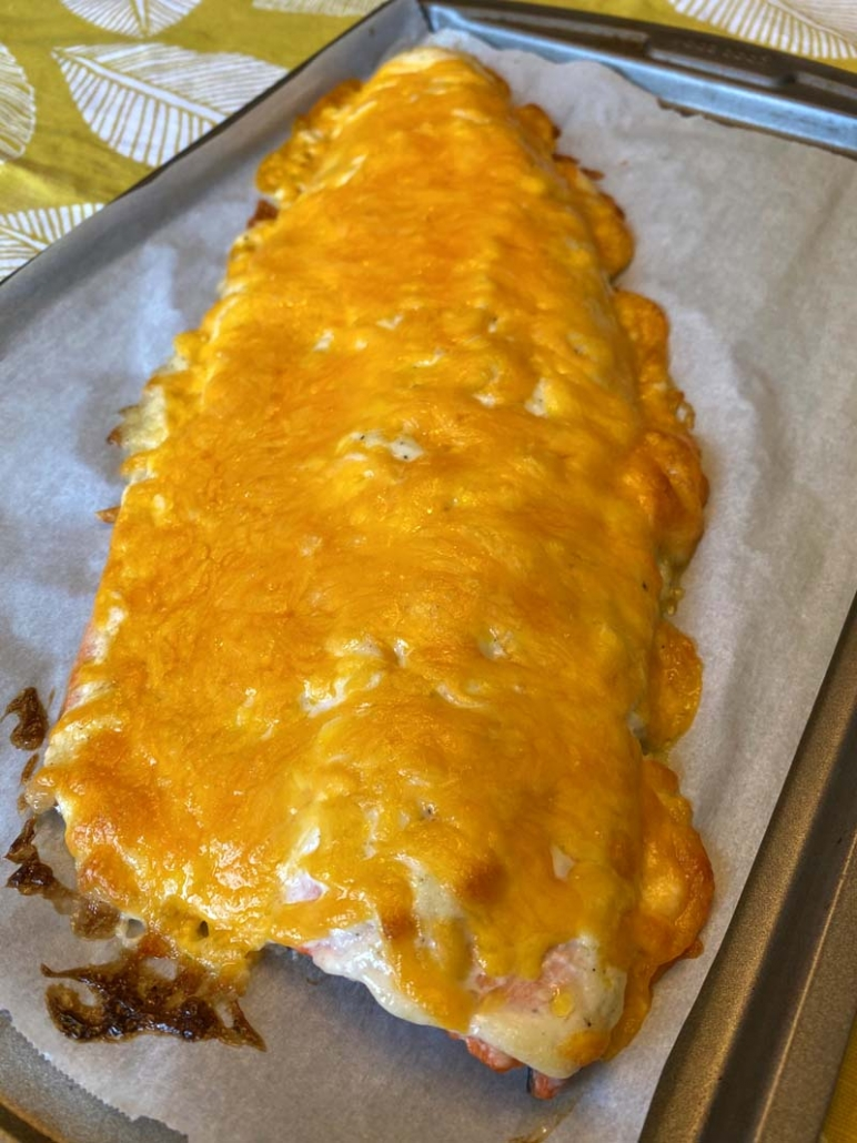 baked salmon with melted cheese