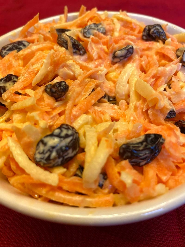 old fashioned carrot raisin salad with mayo