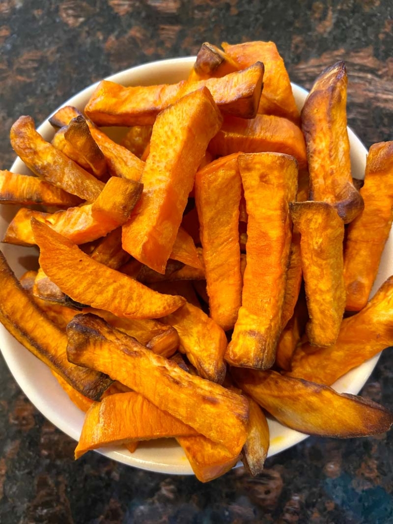 sweet potato fries seasoned with salt and pepper