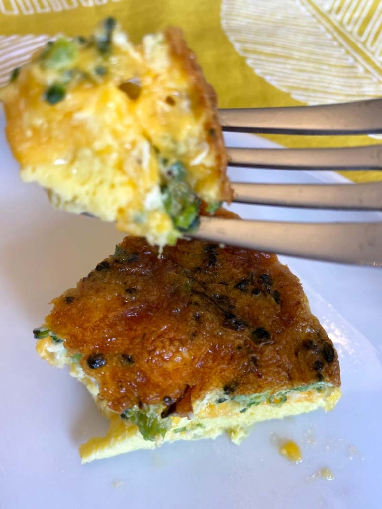 a bite of veggie frittata