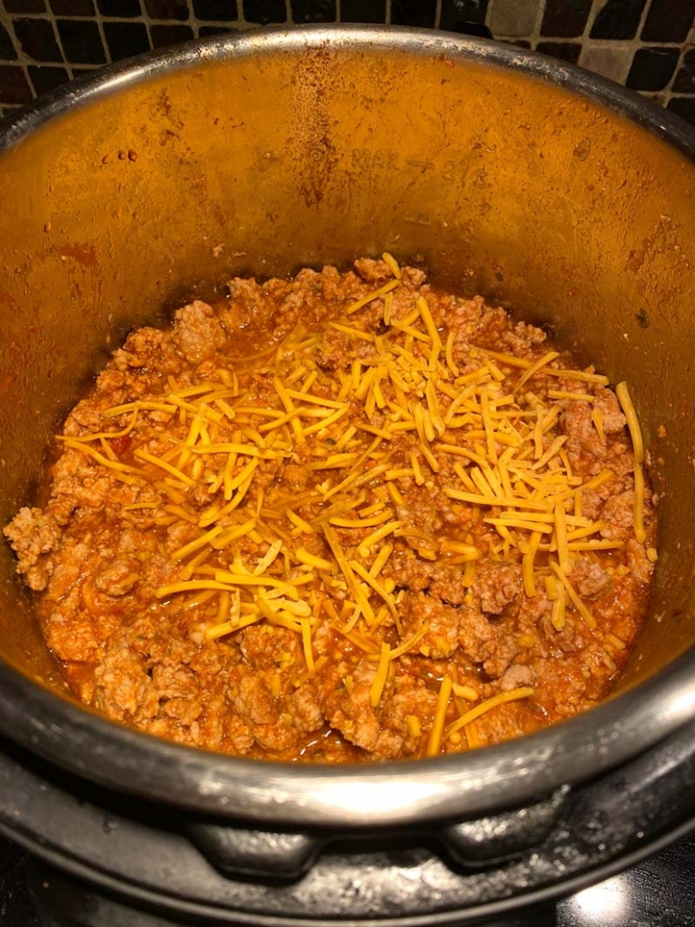 keto beef chili cooking in the instant pot