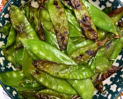 Air Fryer Roasted Snow Peas Recipe