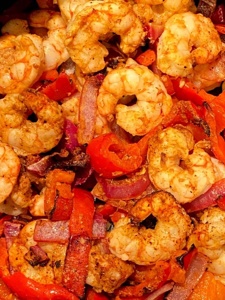 Air fryer fajitas with shrimp