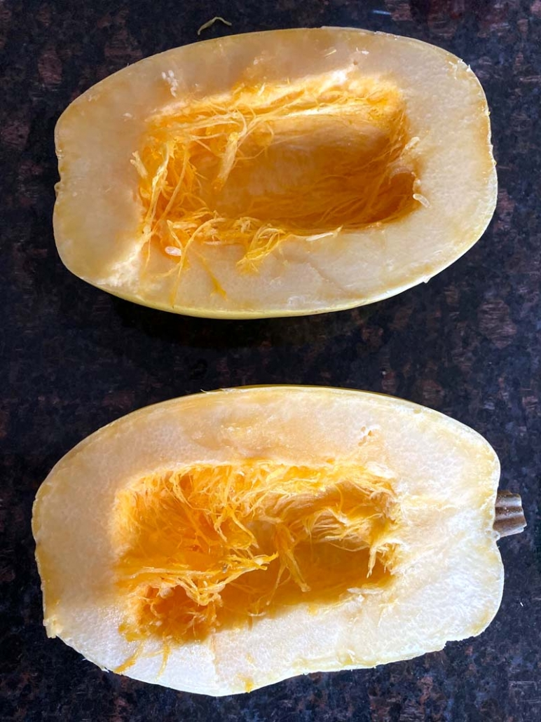 spaghetti squash halves without the seeds