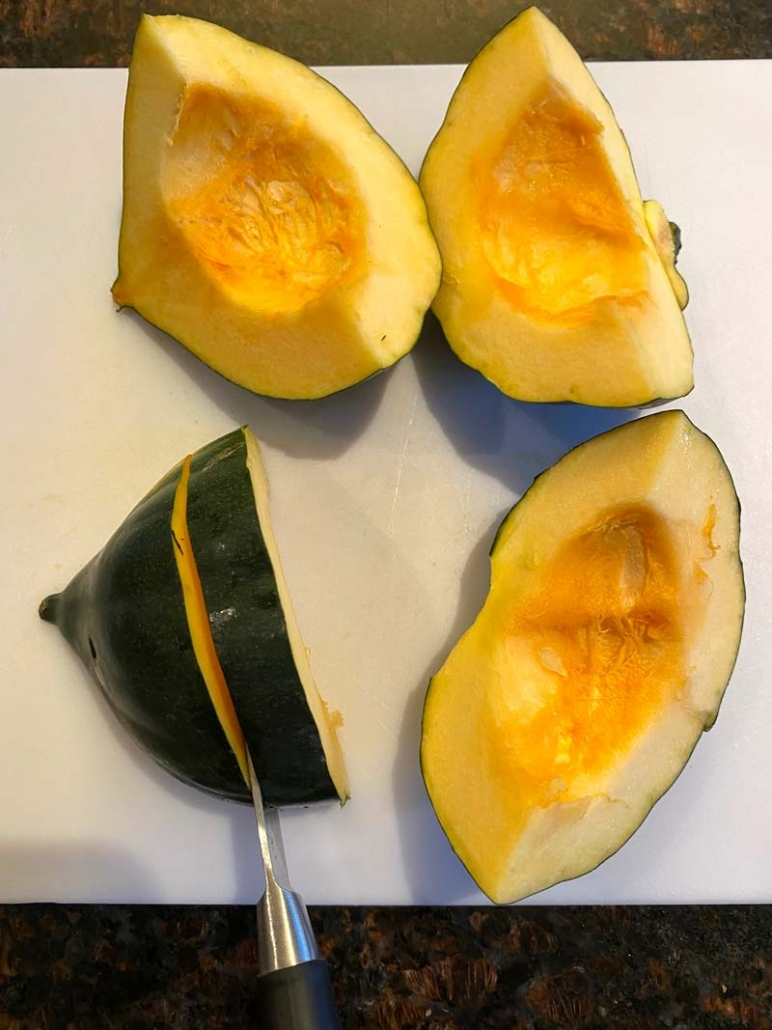 how to cut acorn squash into fries