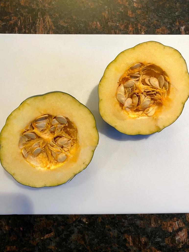 halves of a acorn squash