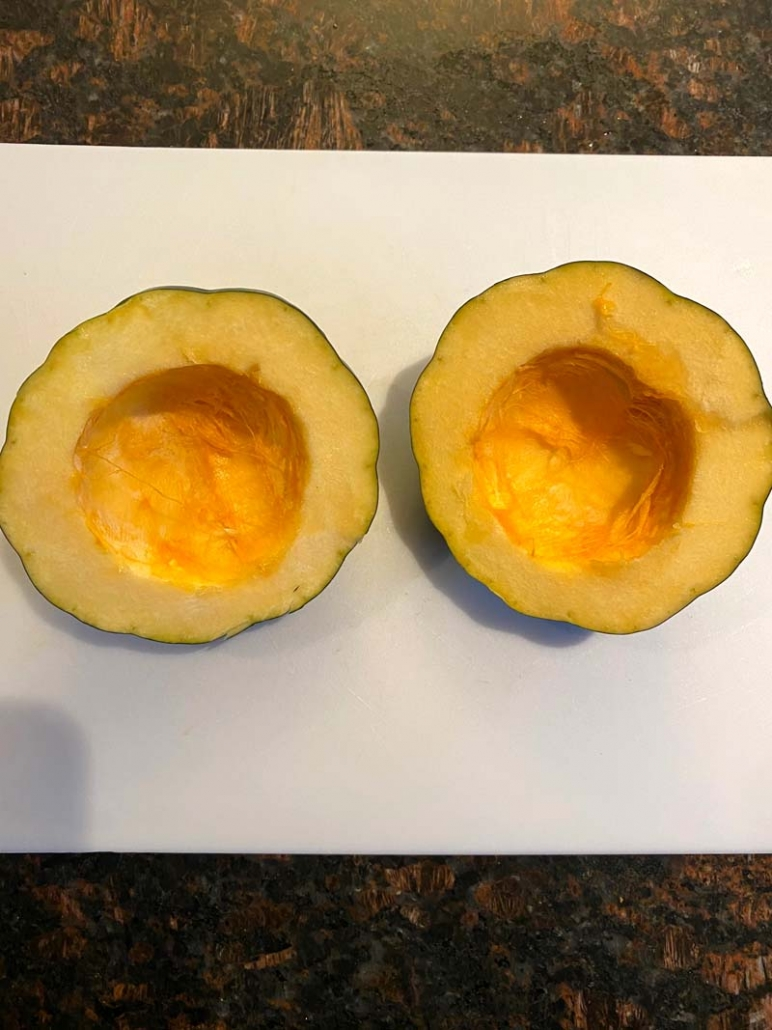 scooped out acorn squash