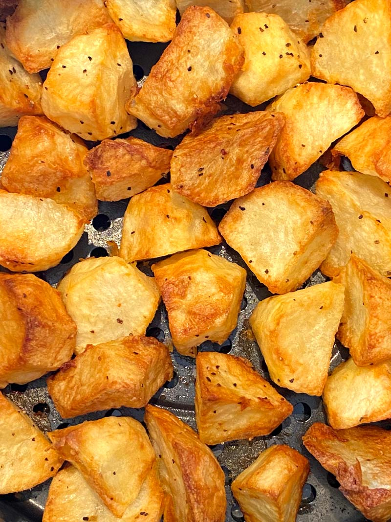Close up of the roasted potatoes