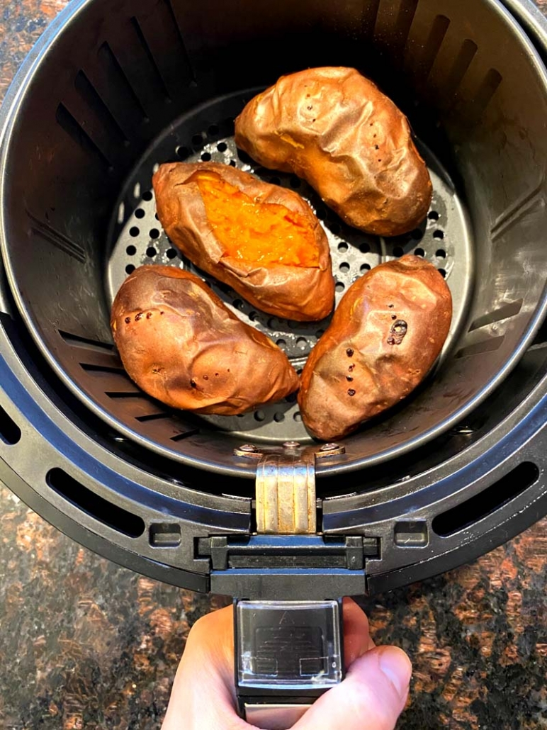 Cooked sweet potatoes in an air fryer