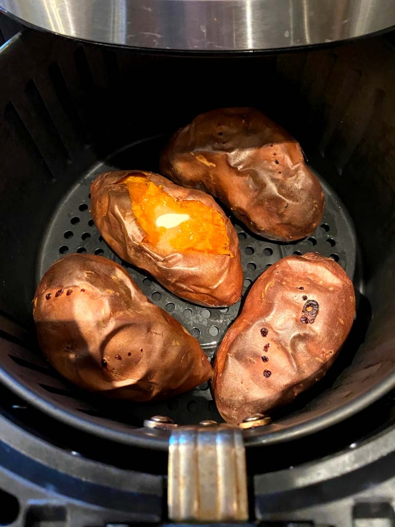 air fried sweet potatoes with butter