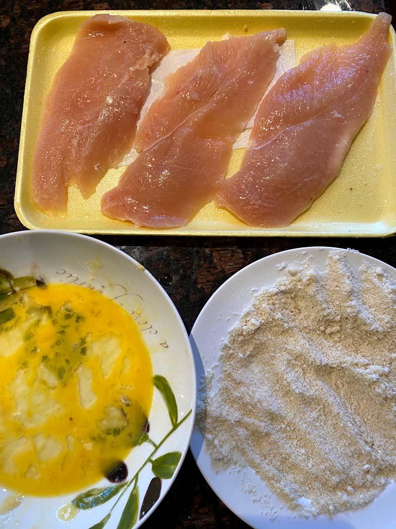 Ingredients to make the almond flour chicken