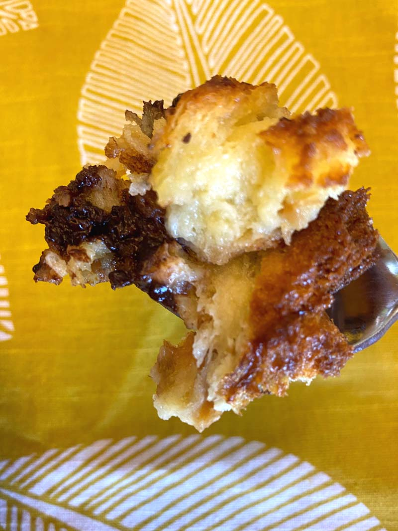 Bread pudding on a spoon