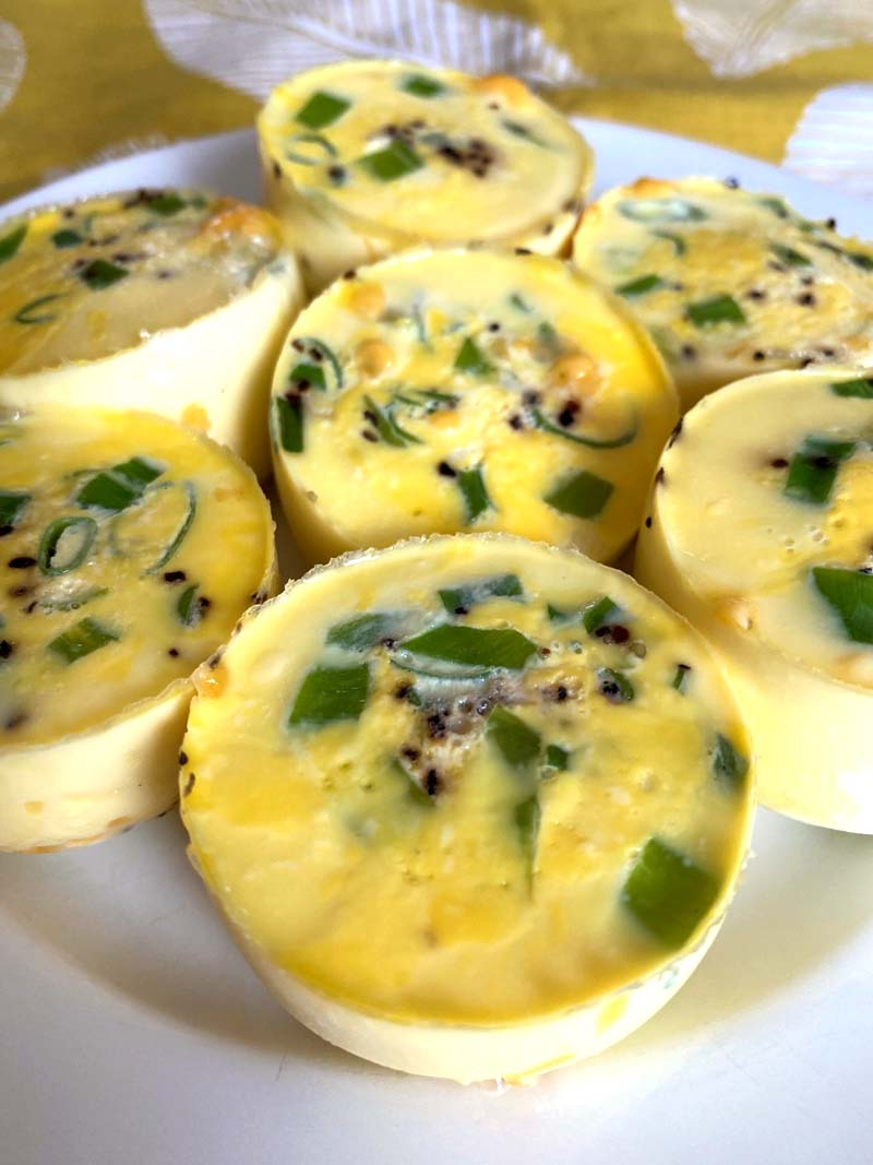 Close up of egg bites on a white plate