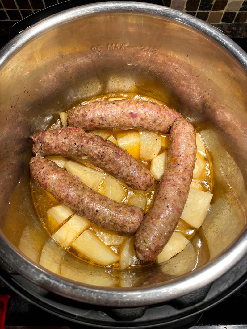Sausages and potatoes in an instant pot