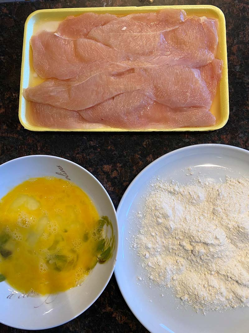 The three ingredients to make the fried chicken