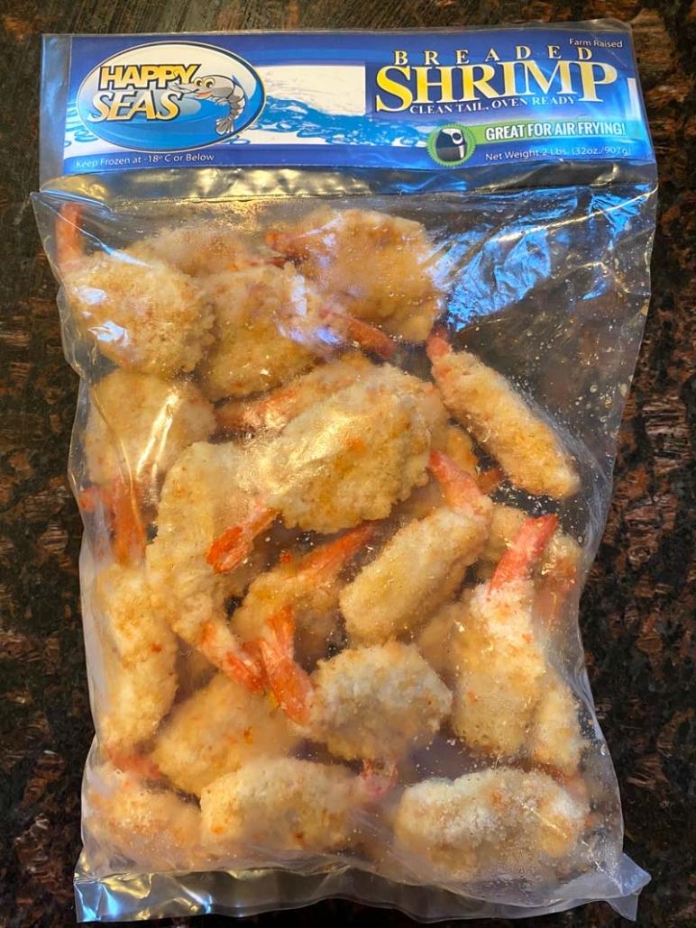 frozen breaded shrimp in a bag