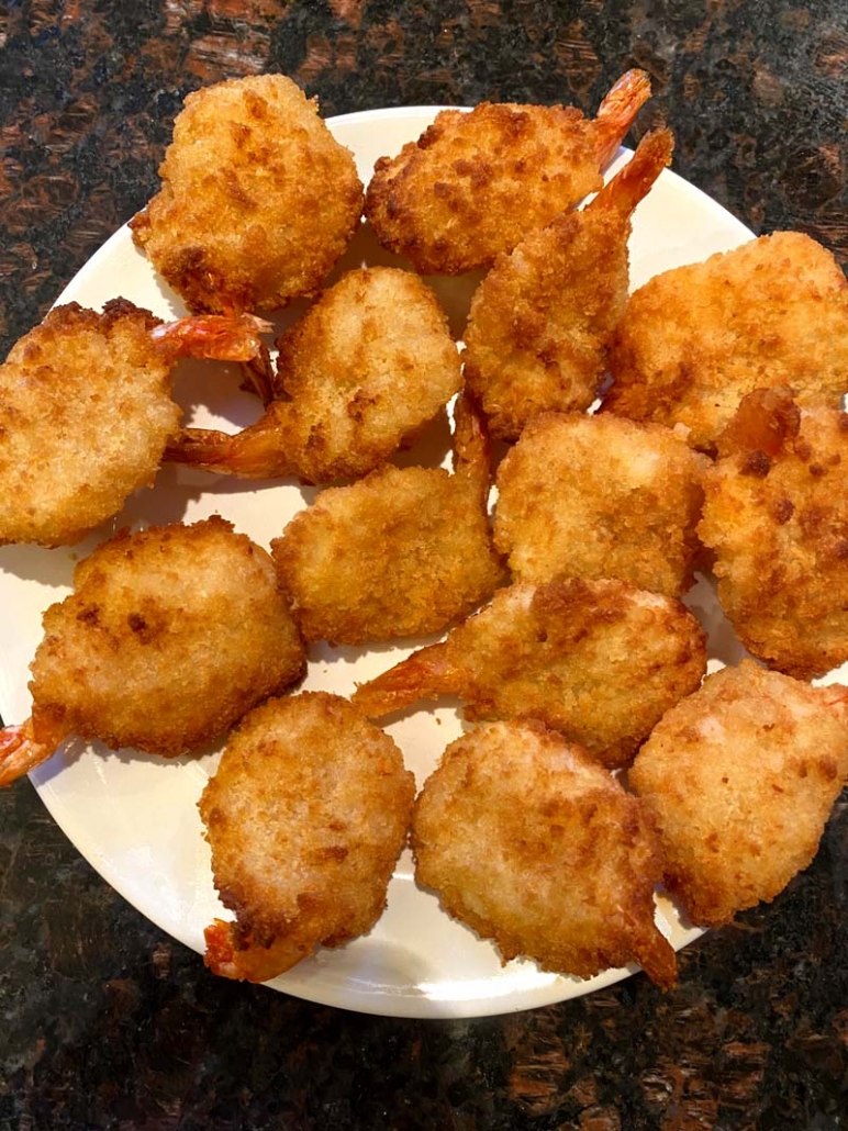 Fried Breaded Shrimp on a white plate