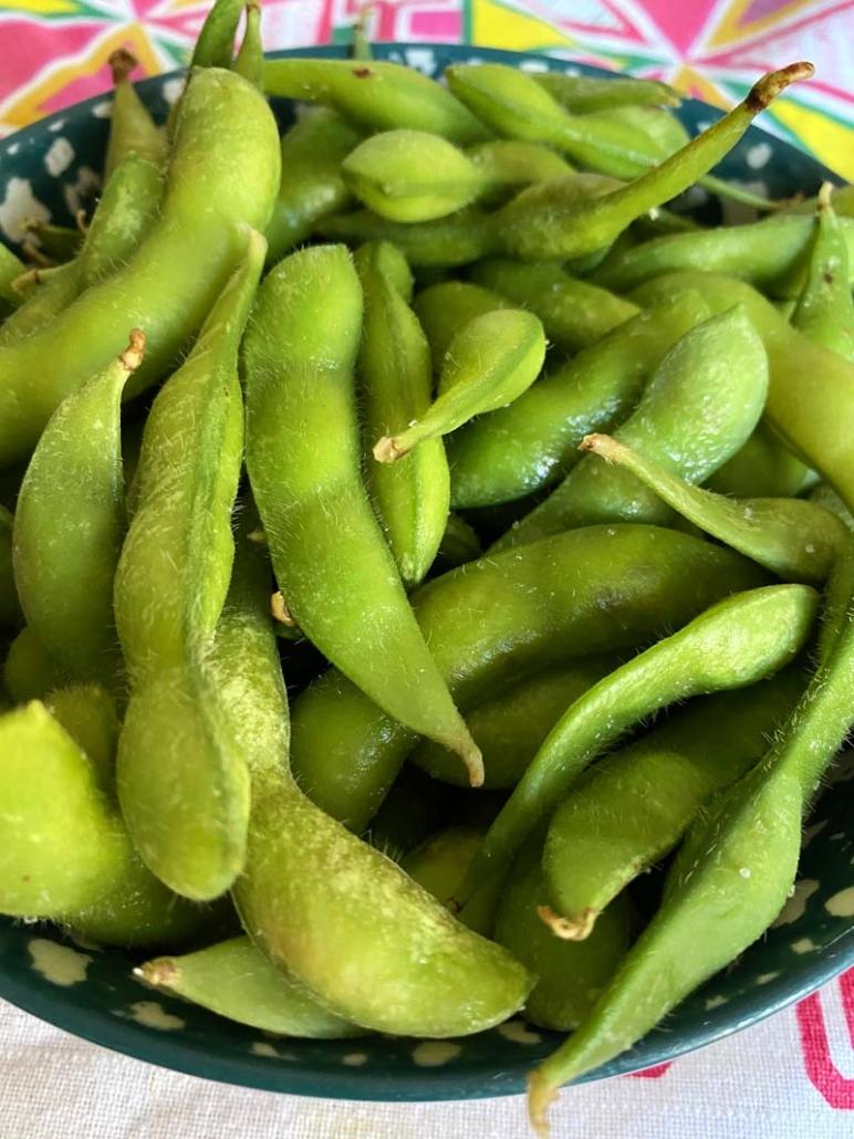 edamame beans as appetizer