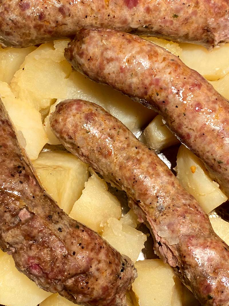 Close up of the cooked sausages