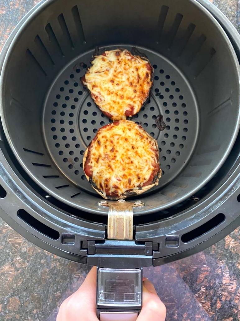 melted cheese on portobello