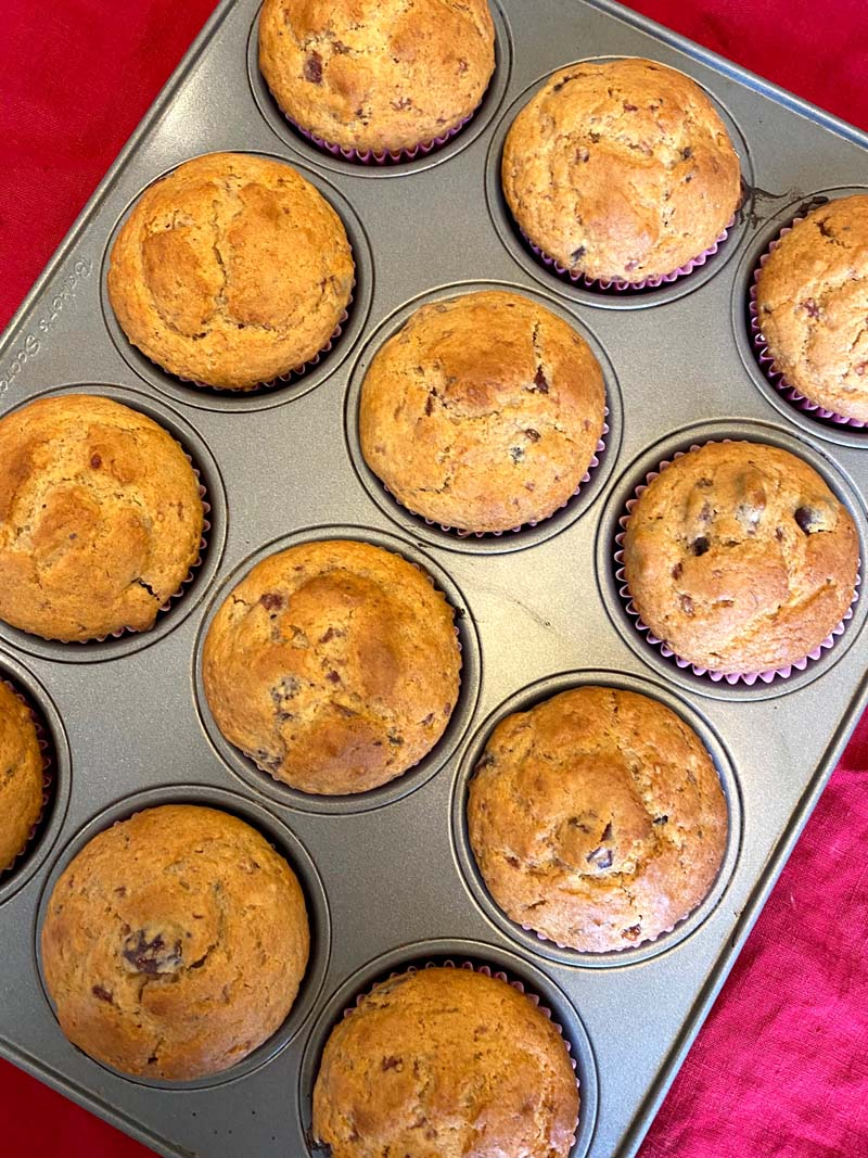 Twelve muffins in a tray