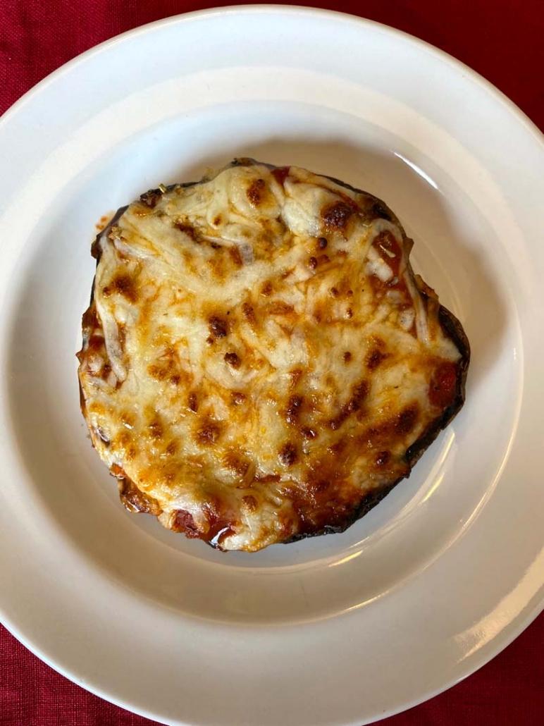 air fryer portobello pizza on plate