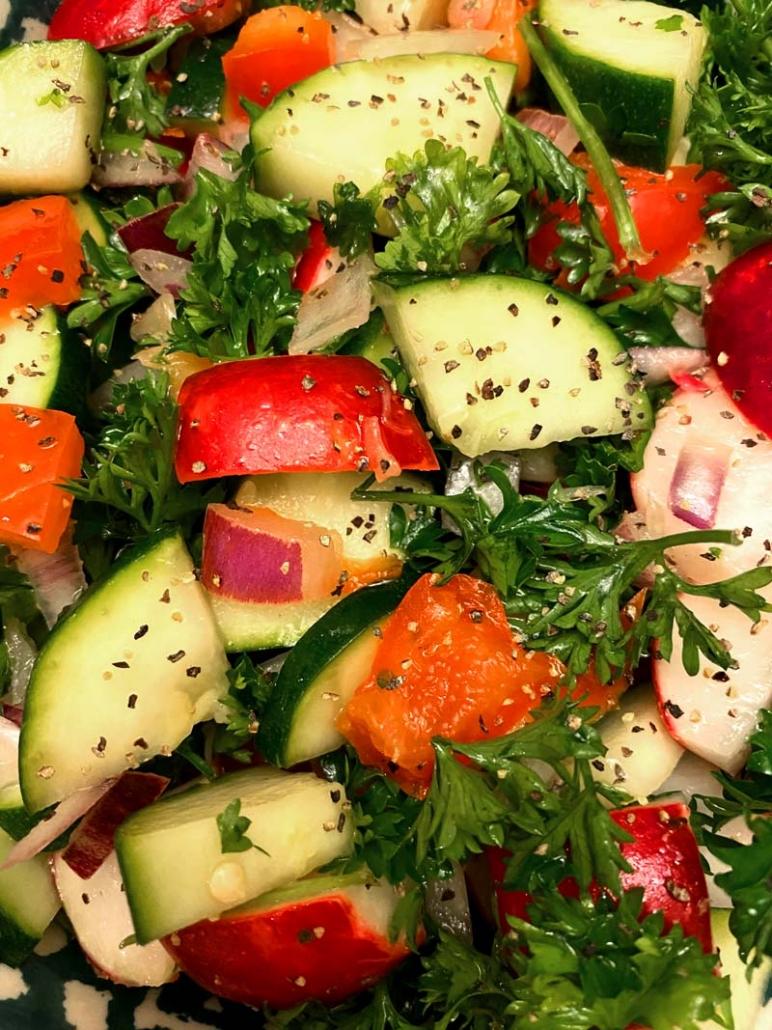 crunchy radish zucchini salad