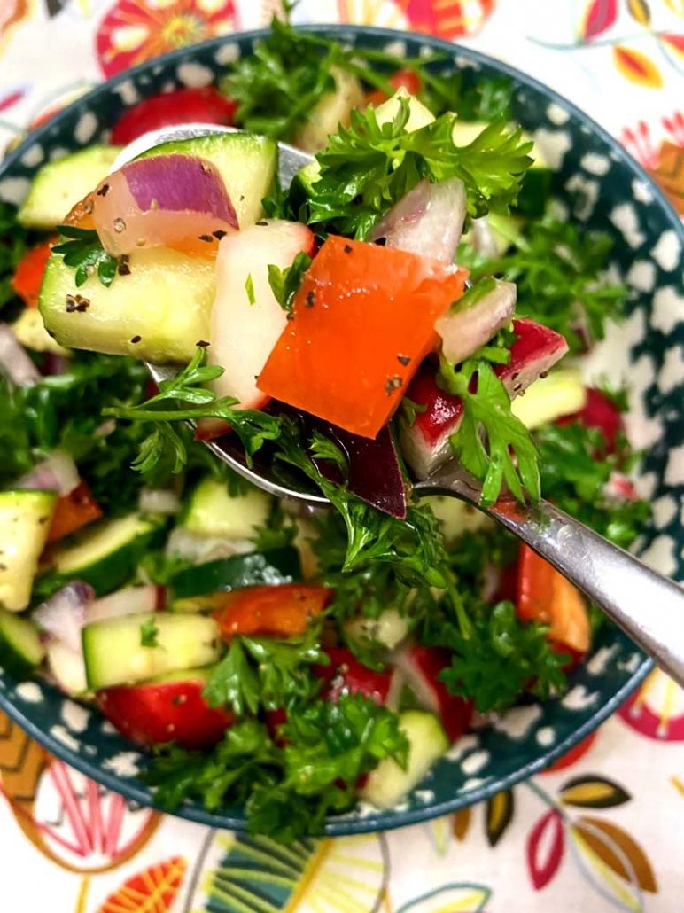 radish zucchini salad in a bowl