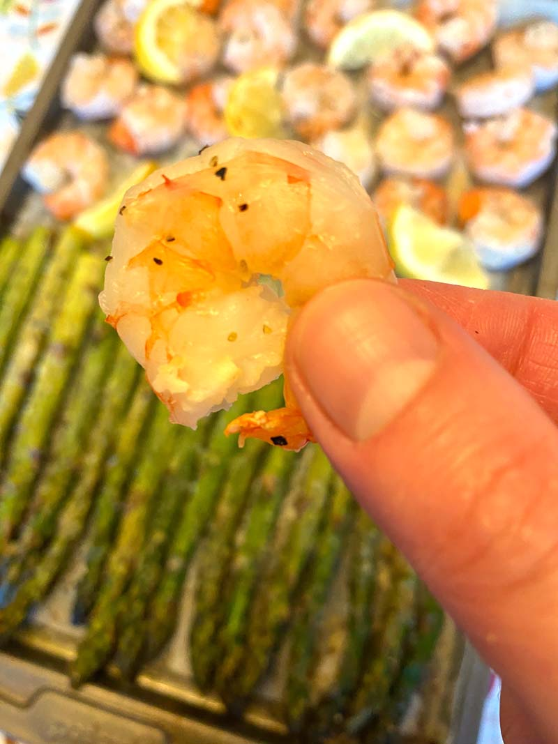 Close up of a prawn being held towards the camera