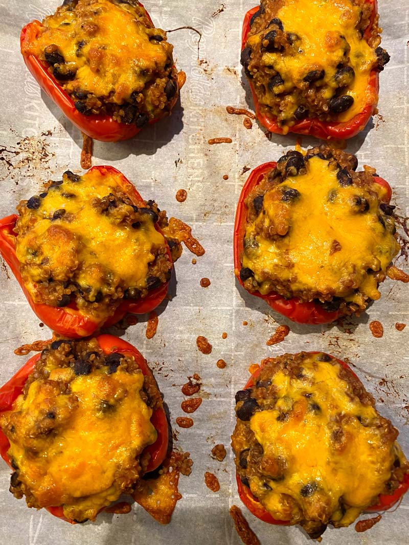 Vegetarian stuffed peppers ready to serve