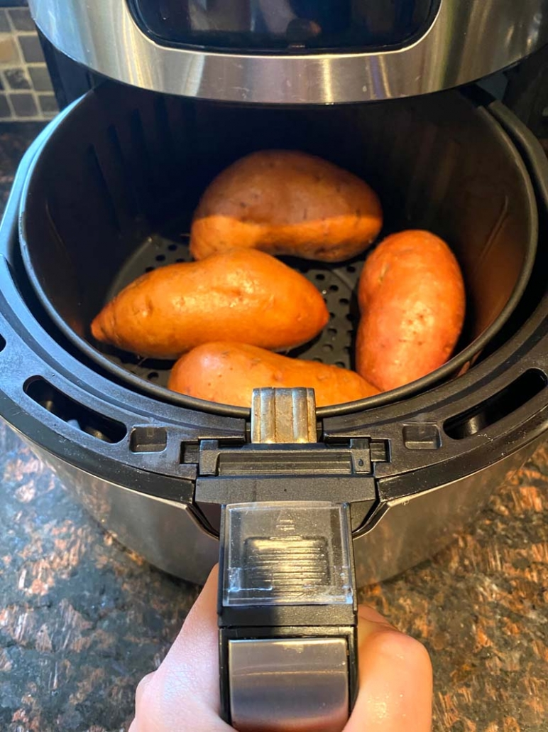 cooking raw sweet potatoes in an air fryer