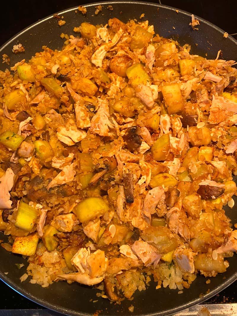 The cauliflower stir fry ready to serve