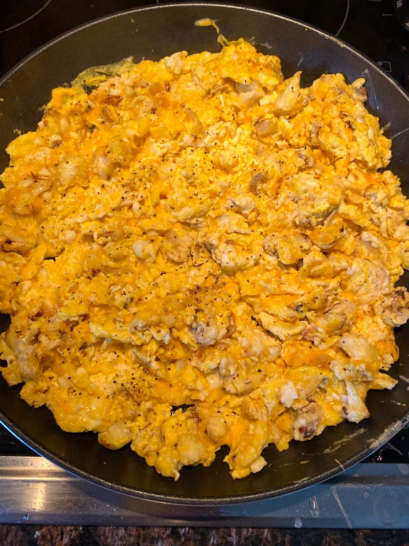 Overhead shot of the cauliflower scrambled eggs in a skillet