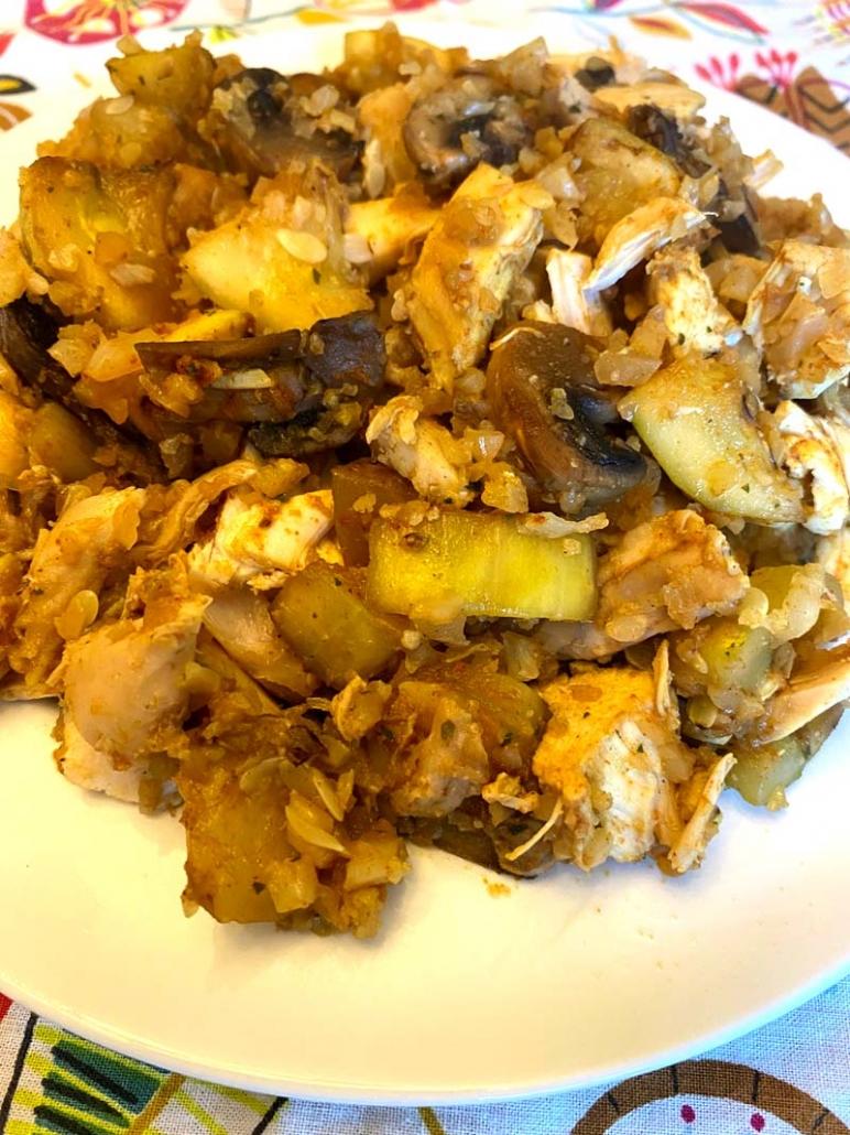 Chicken Zucchini Mushrooms Cauliflower Rice Stir Fry