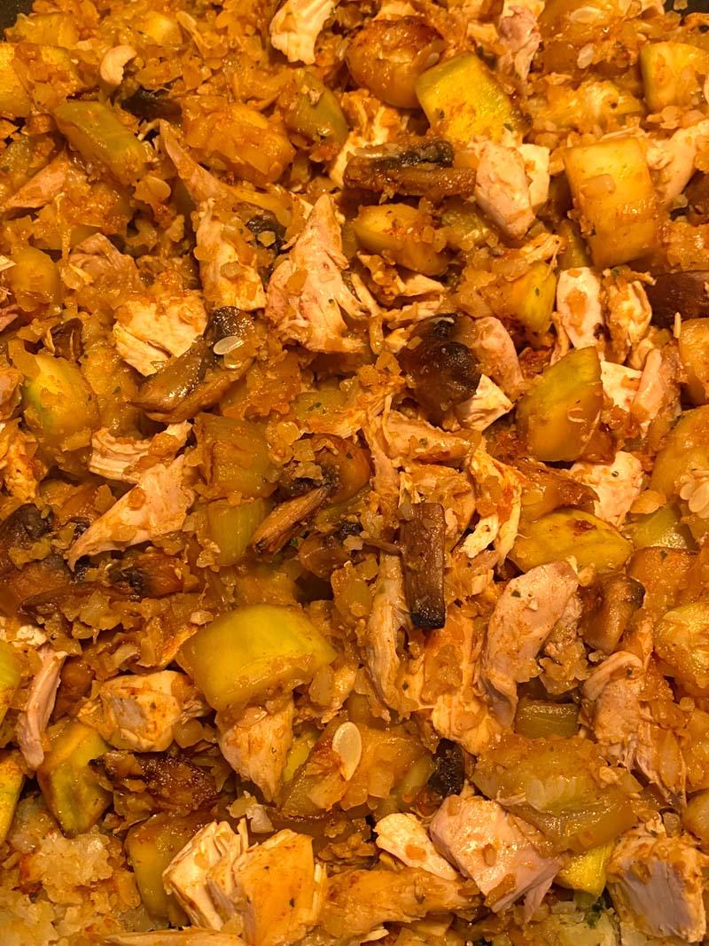 Close up of the cauliflower stir fried rice