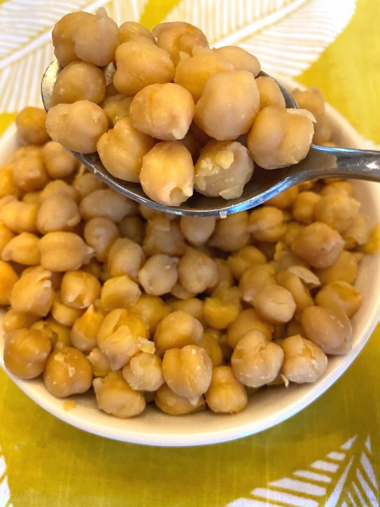a spoonful of cooked garbanzo beans