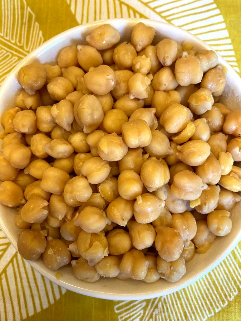 instant pot chickpeas in a white bowl