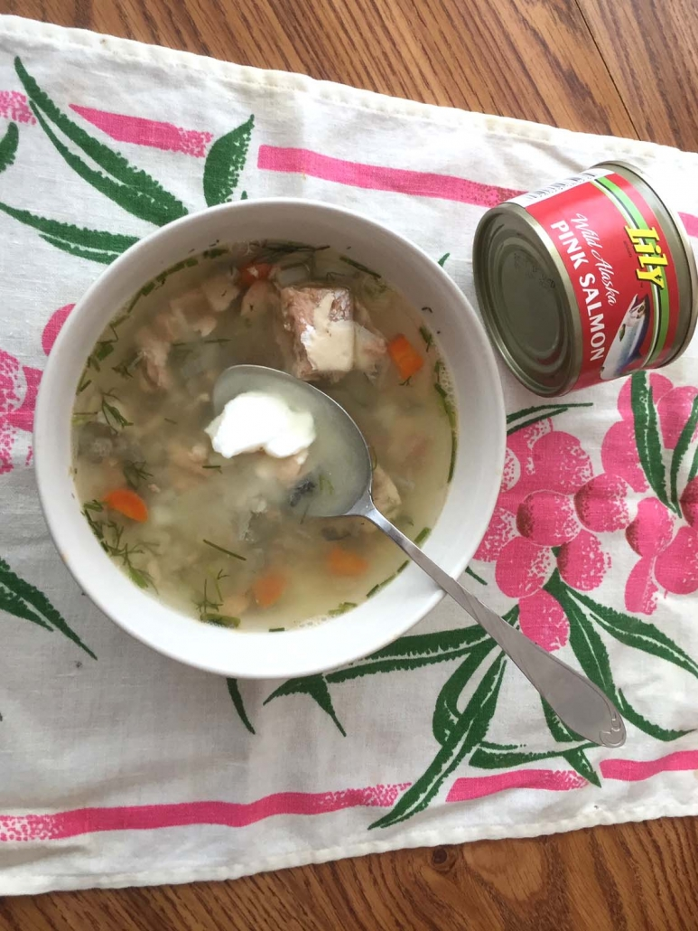 canned salmon soup from pantry ingredients