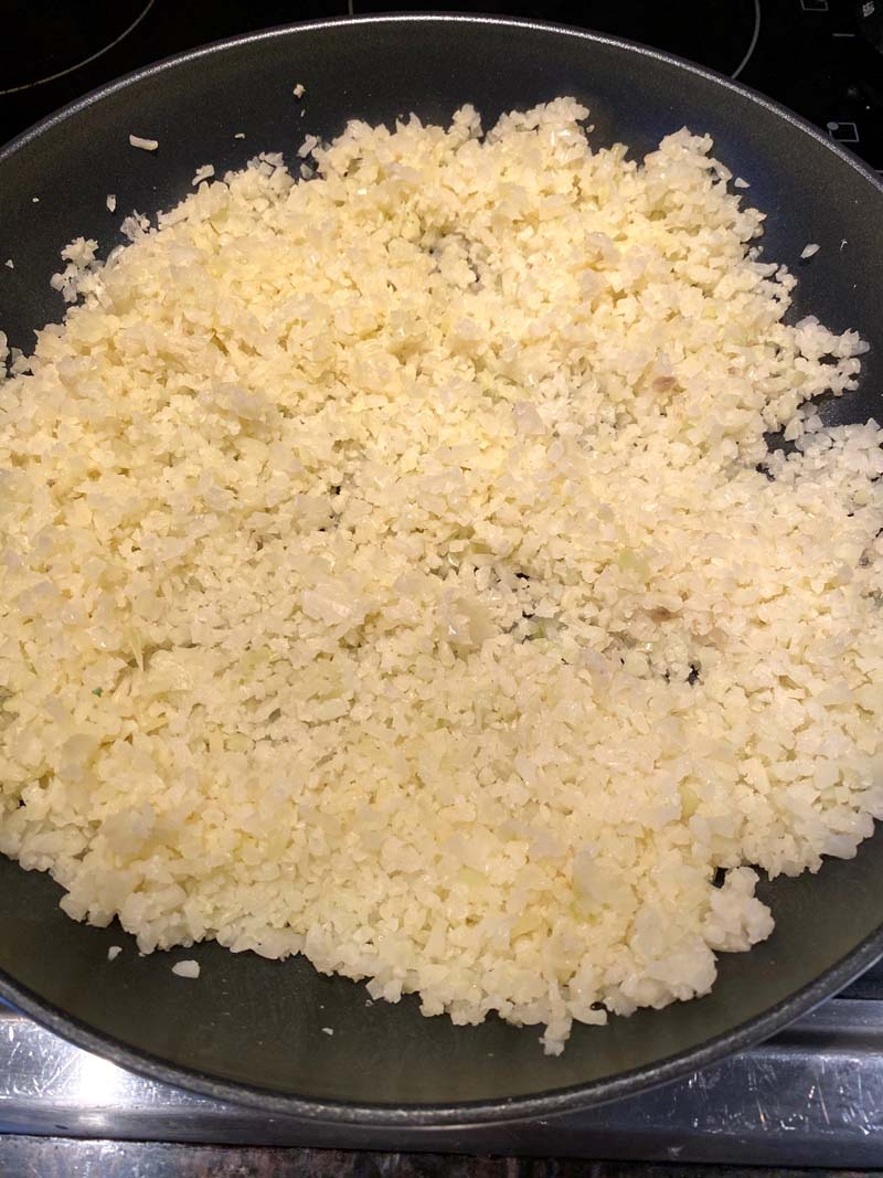 cauliflower rice in a skillet