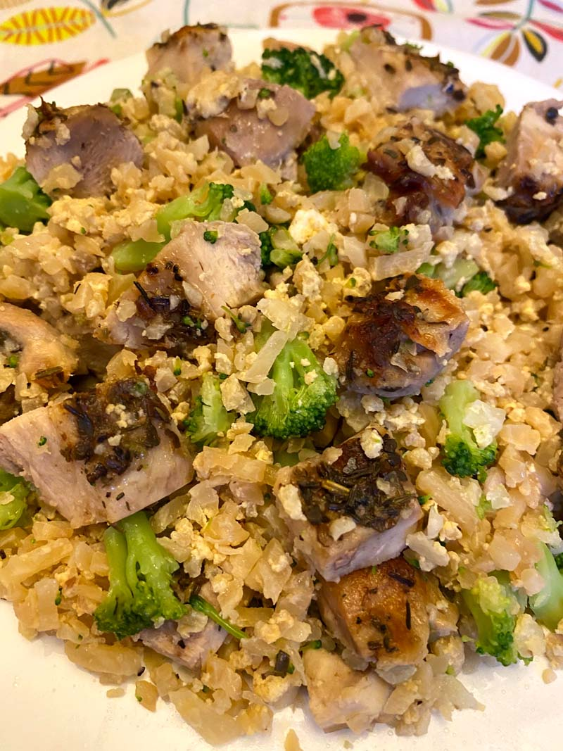 close up of fried rice with cauliflower