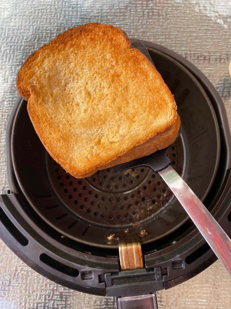 removing grilled cheese sandwich from air fryer