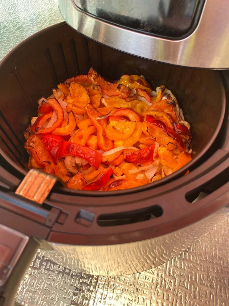 cooked peppers and onions in the air fryer