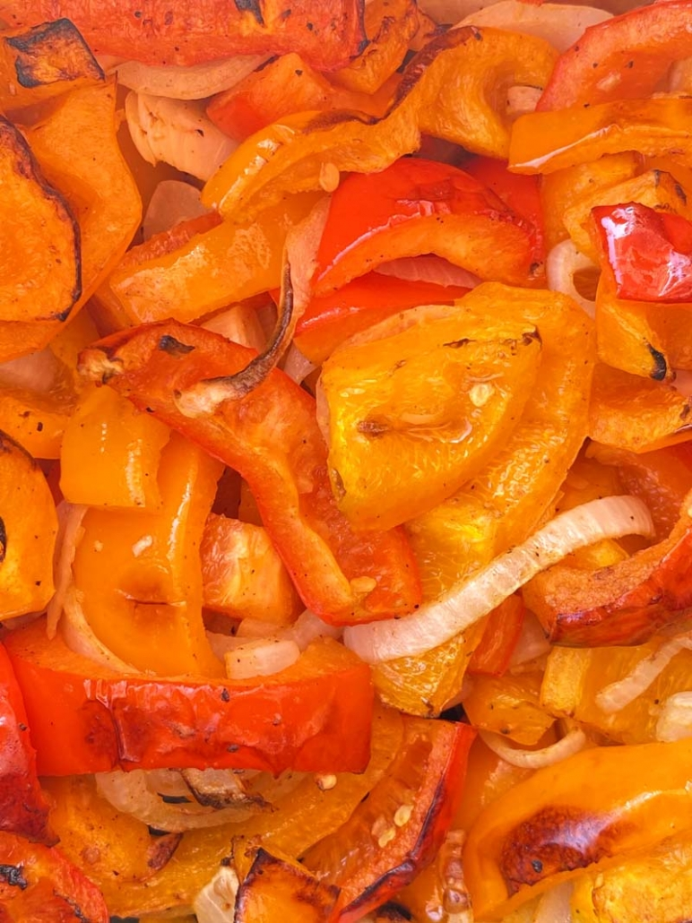 roasted peppers and onions