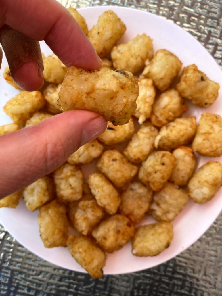 eating air fried tater tots