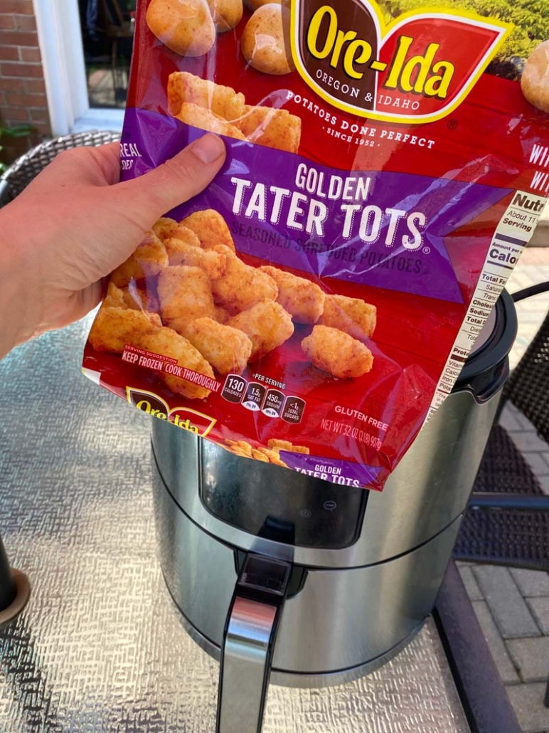 cooking golden tater tots from Ore-Ida in air fryer