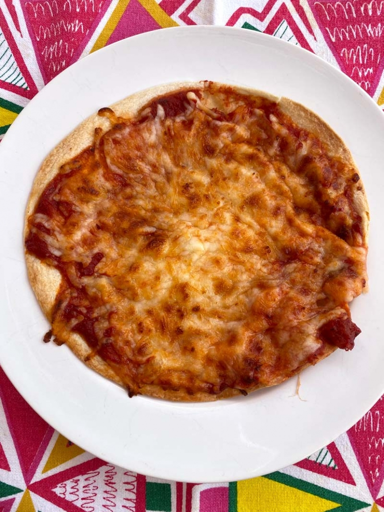 air fried tortilla pizza